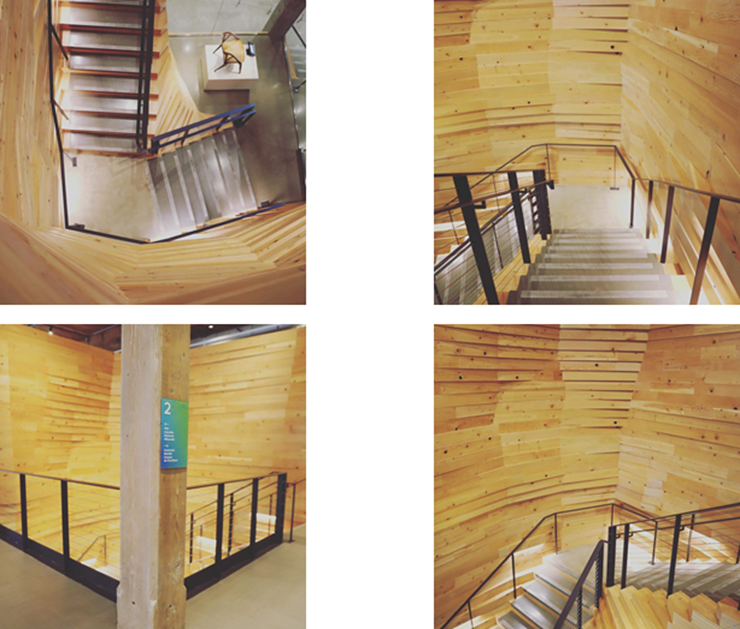 The reclaimed wood staircase in the Autodesk Portland office.
