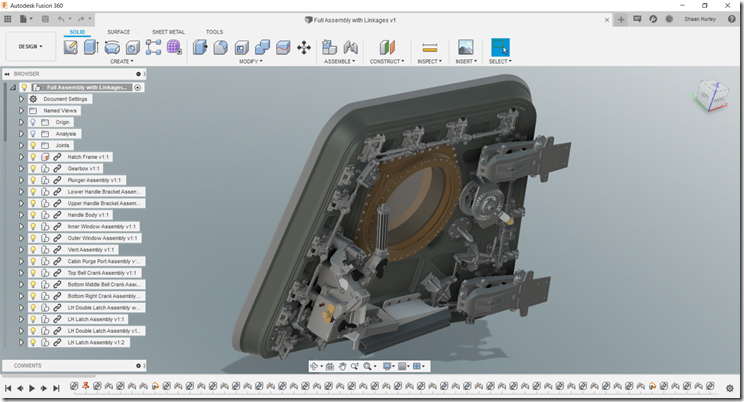 The Apollo 11 Command Module CM-107 Columbia Egress hatch in Autodesk Fusion 360