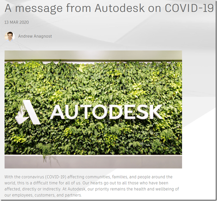 A Message from Autodesk on COVID-19