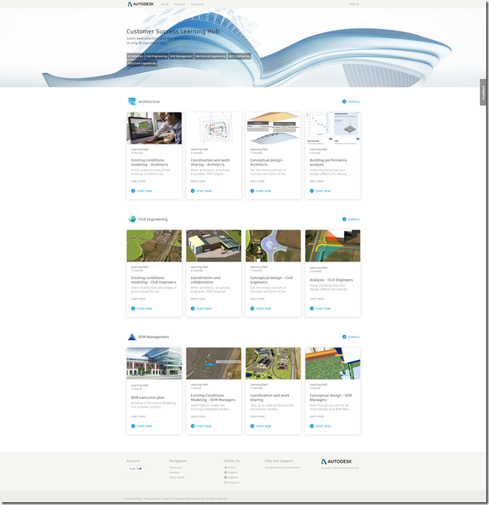Autodesk Customer Success Learning Hub for Free Learning Content