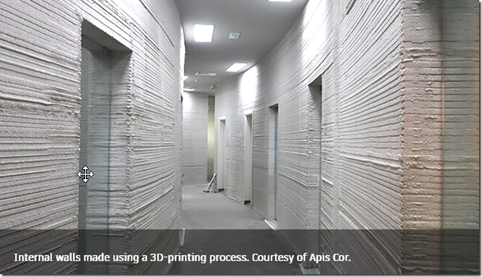 Internal walls made using a 3D-printing process. Courtesy of Apis Cor.