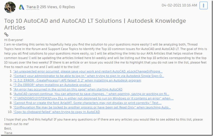 Top 10 AutoCAD and AutoCAD LT Solutions 4/2/2021