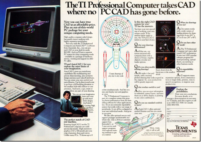 TI Ad from the 80s featuring AutoCAD with Star Trek sample file.