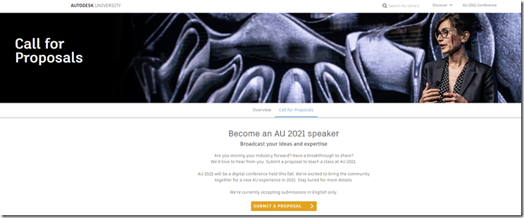 Autodesk University 2021 – Start Submitting Your Proposals