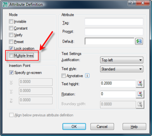 Drawing Lines Between Text Boxes : Autocad matts multiline attributes