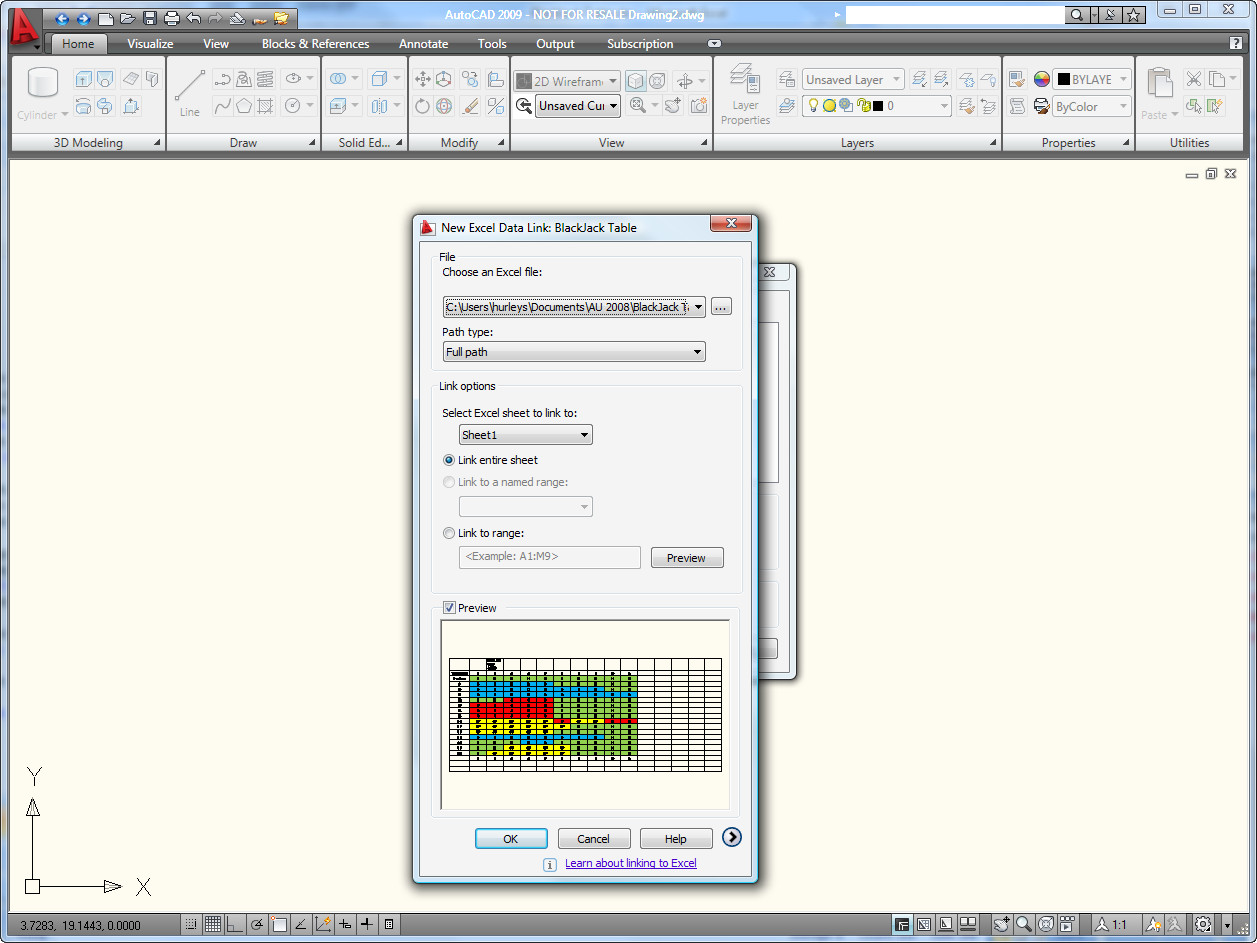 Link Excel and AutoCAD Without OLE and Win at the Blackjack
