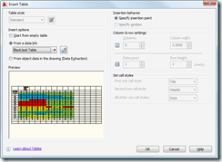 AutoCAD 2009 Table Dialog
